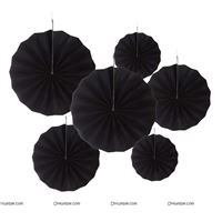 Black party decoration Paper fan kit - 6pcs