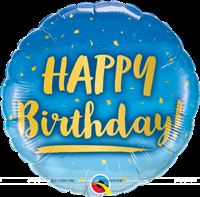 "Happy Birthday Blue & Gold Foil balloon(18"")"