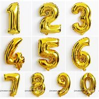 Gold Number Foil balloons