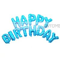 Happy Birthday Letters Foil balloon Blue (Set of 13 Alphabets)