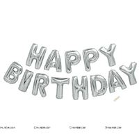 Happy Birthday Letters Silver Foil Balloons (Set of 13 alphabets)