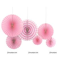 Light Pink party decoration Paper fan kit - 6pcs