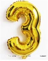 No 3 Gold Foil Balloon