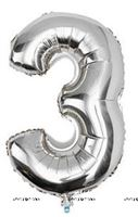 No 3 Silver Foil Balloon