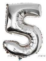 No 5 Silver Foil Balloon