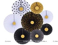 Black & gold party decoration paper fan kit (Pack of 8 )