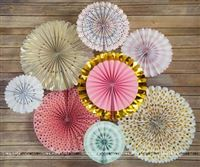 Pink & gold party decoration paper fan kit (Pack of 8 )
