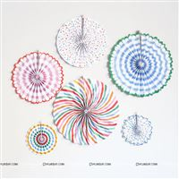 Stripe & dotted multi color party decoration paper fan kit