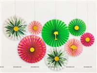 Pink & Green Party decoration Paper Fan kit (Pack of 8 )