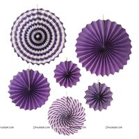 Purple party decoration Paper fan kit - 6pcs