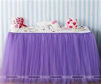 Purple tutu table skirt