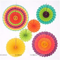 Rainbow Colored 3 Party decoration Paper fan kit - 6pcs