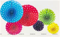 Rainbow Colored party decoration Paper fan kit