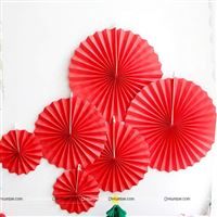 Red party decoration Paper fan kit - 6pcs