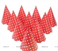 Red Polka Hats (Set of 10)