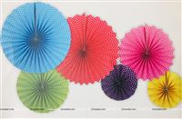 Small Polka Multi color Paper Fan Decoration