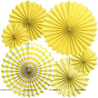 Yellow 1 party decoration Paper fan kit - 6pcs