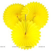 Yellow 15cm - set of 5 Paper Fan Decoration