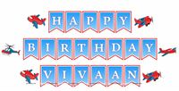 Happy Birthday Banners - Aeroplane Theme Birthday Party Decoration Supplies