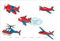 Posters pack of 5 - Aeroplane Theme Birthday Party Decoration Supplies
