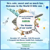Around the World theme Theme Party Invite