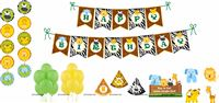 Baby Jungle Birthday theme  Jungle Animals Super saver birthday decoration kit (Pack of 58 pieces)