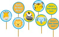 Cup cake toppers - Baby Animal Jungle birthday supplies