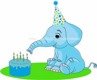 Jungle Birthday Supplies theme Elephant with cake