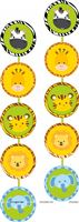 Baby Jungle Birthday theme Jungle animal face danglers ( Pack of 2 )