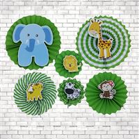 Baby Jungle theme Jungle Animals Party Paper Fan decorations