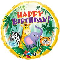 Baby Zoo theme Jungle Birthday Foil balloon (18 inch)
