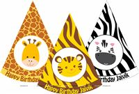Baby Jungle Birthday theme Jungle printed party hats