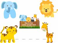 Baby Jungle theme Posters pack of 5