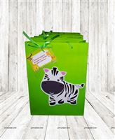 Jungle theme Green gift bag with tag (Pack of 6 )