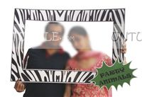 Wedding photo props theme Zebra striped photo booth