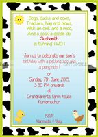 Baby Barnyard theme Rectangular Invitations