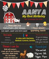 Chalk board - Farm birthday party decorations | Baby Barnyard Theme