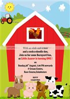 Baby Barnyard theme Farm Animals Invite