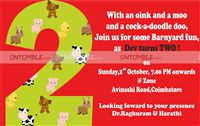 Baby Barnyard theme Second Birthday Invite