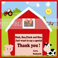 Baby Barnyard theme Thank you card