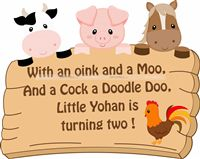 Baby Barnyard theme Welcome Poster