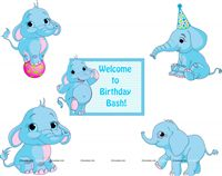 Circus Elephant Birthday theme Posters pack of 5
