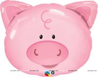 Barnyard birthday theme Cute Pig Face Foil Balloon