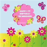 Butterfly and flowers backdrop - Butterfly Birthday
