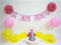 Six Month Birthday theme Cake Smash Kit for Girls Pink & Yellow (Set of 29 pieces)