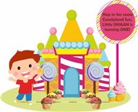 Candy Land theme Boy Welcome banner