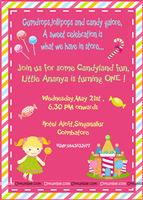 Candy Land theme First Birthday Invitation