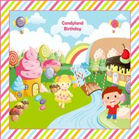 Candy Land theme Boy & Girl Backdrop
