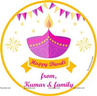 Diwali theme party Pink Lamp diwali tag (pack of 24 pcs)
