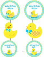 Rubber Duck theme Blue & yellow disc danglers